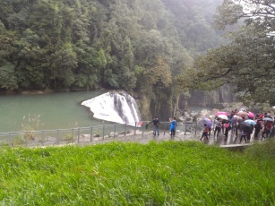 Higher view Shifen Waterfall